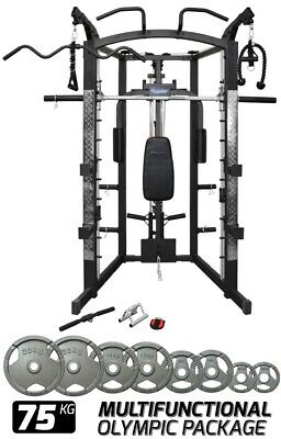 Home Gym Smith Machine Cable Crossover Row Peck Deck 75kg Olympic Gym Package
