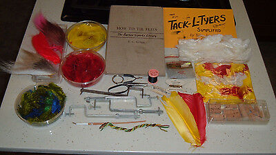 Vintage 1950 - FLY TYING SUPPLIES -2 Books Feathers Fur Corks Vises Tools Thread