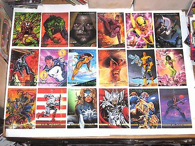1993 Marvel Masterpieces 90 Base Card Set! Avengers Wolverine! Spiderman!