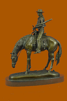 Bronze Cowboy on Horse Statue - Southwestern - Decorative Objects And Figurines
