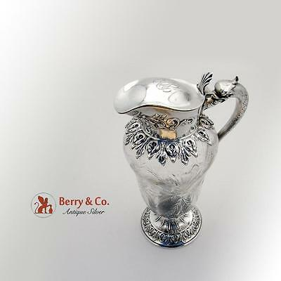 Ornate Dolphin Syrup Pitcher Sterling Silver Cut Glass Durgin 1900