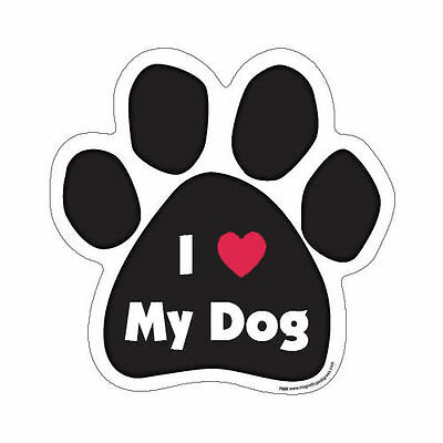 I Love Heart My Dog Paw Quote Car Magnet