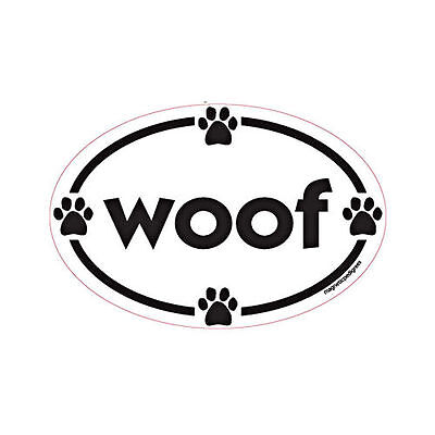 Woof Oval Euro Style Car Dog Magnet