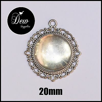 10 x DIY Silver Round pendant kit settings tray bezel plus glass cabochon 20mm