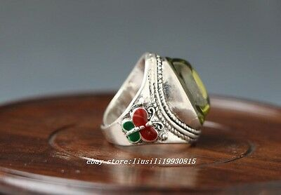 Tibet-silver OLD INLAY ZIRCON WONDERFUL CLOISONNE HAND CARVED RING N