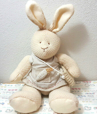 "Russ Berrie & Co. Bunny Patch 4194 11"" Rare Beige Knitted Look with Dress"