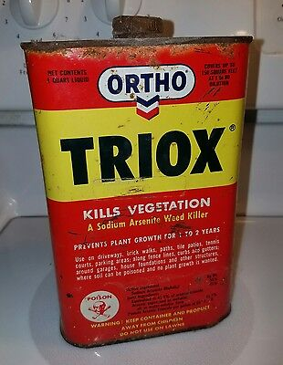 Vintage Ortho Pesticide Container /triox/skull &crossbones/steel Can/arsenic