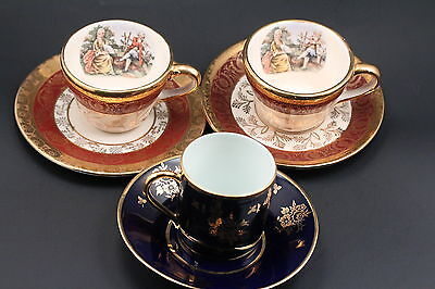 Three VINTAGE Tea Cups LIMOGES FRANCE BROMLEY LIBERTY CHINA 22K