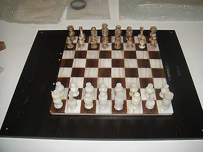 CHESS SET MARBLE ONYX 14x14x3/4 MADE IN MEXICO