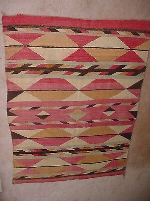 Old Navajo Indian Transitional Wearing Blanket Rug 65 By 46