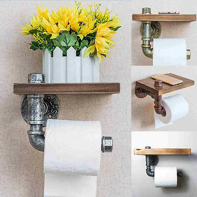 Style Iron Pipe Toilet Paper Holder Roller  Wood Shelf Bathroom Industrial New