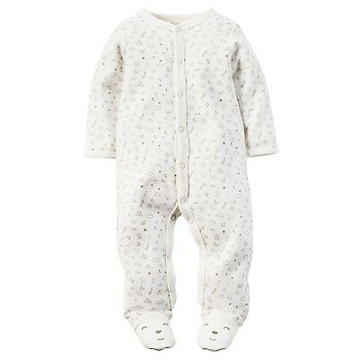 Carters Unisex Baby Clothing Outfit Cotton Snap-Up Sleep & Play Bear White