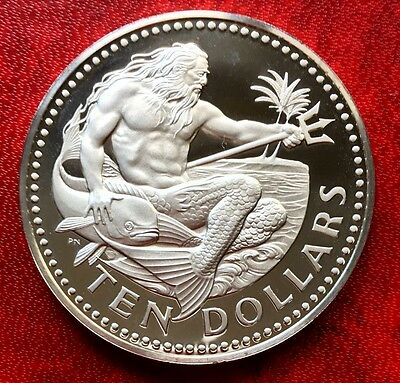 1973 Barbados Coin $10 Silver Proof KING NEPTUNE GEM Uncirculated