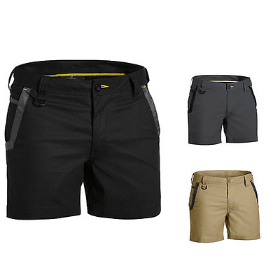Bisley Work Wear Flex And Move Short Shorts - Black- Khaki- Charcoal Grey
