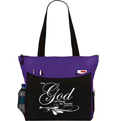 Matthew 19:26 With God All Things Are Possible Tote Bag Christian Bible Cover