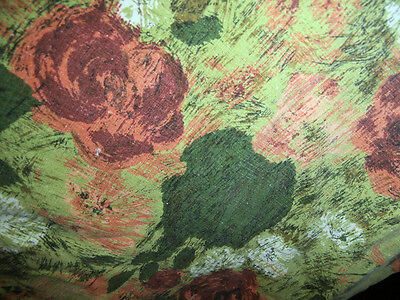 Vtg 1964 midcentury floral greens oranges cotton fabric  3 yards plus