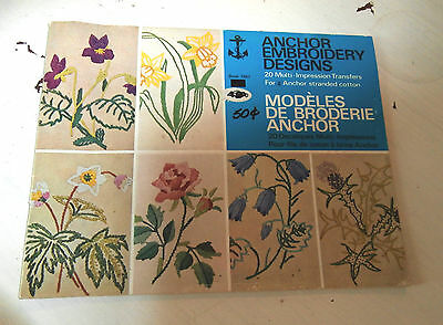 Vtg Anchor 1047 Embroidery Designs 20 Transfers floral pixie snowflake UNUSED