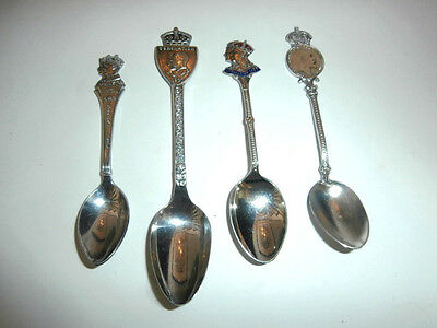Lot 4 Royal Family Souvenir spoons silverplate 1939 1937 1908 coin farthing 61 g