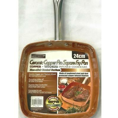 NEW Ceramic Copper Pro Square Fry Pan   12 Month Warranty