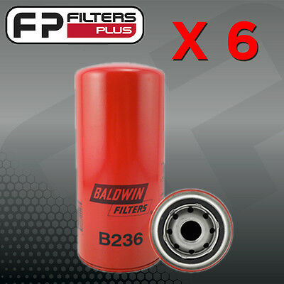 6 x B236 Baldwin Oil Filter - Ford F250 Brazilian Made 4.2L T/Diesel  -W962, Z74