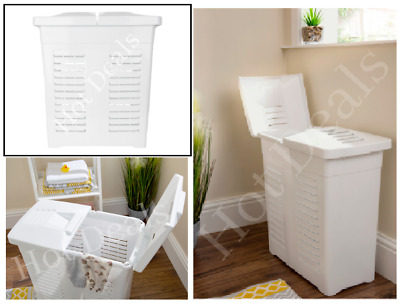 New Plastic 75l Laundry Linen Basket Bin Hamper With Twin Lids Washing Clothes