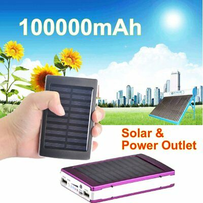 100000mAh Solar Power Bank Panel Dual USB Portable Pack Charger for Mobile Phone