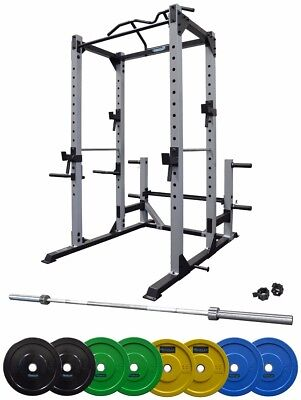 Home Gym /Power Cage Bumper Plates 100 KG Package with Dip Bars & Pull Up Bar
