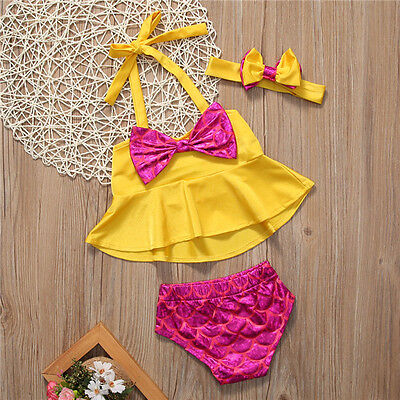 Kids Baby Girls Headband Tankini Bikini Set Swimwear Swimsuit Bathing Beachwear