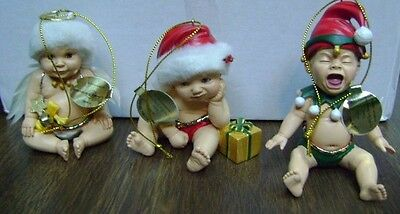 Santa, It's Not Easy Being Cute Baby Doll Christmas Ornaments: Set One