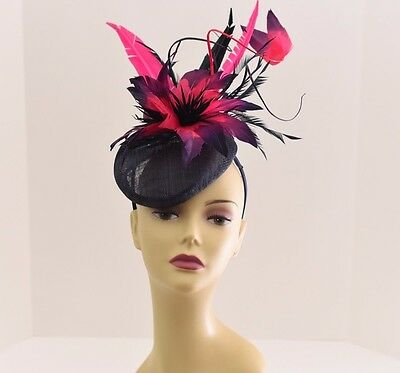 Kentucky Derby Wedding Sinamay feathers Fascinator Cocktail 99A (Navy/Fuschia )