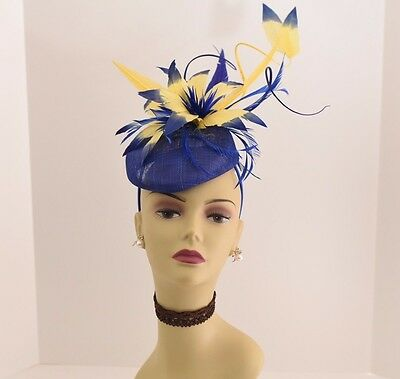 Kentucky Derby Wedding Sinamay feathers Fascinator 99A (Royal Blue/Yellow )