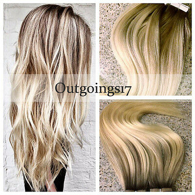 Ombre Blonde Tape In Skin Weft Remy Human Hair Extensions Straight 40pcs/100g