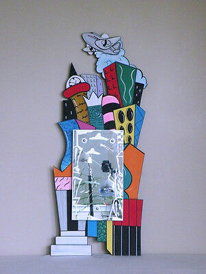 memphis mendini sottsass  POST MODERN CITYSCAPE hand painted & etched mirror '93