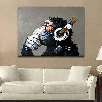 Modern Abstract Huge Wall Art Oil Painting on Canvas : Musical Monkey (No Frame)