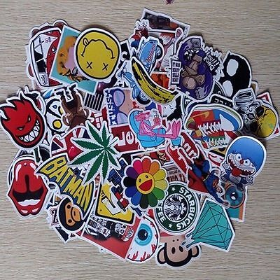 50pcs /lot Sticker Bomb Decal Vinyl Roll Car Skate Skateboard Laptop Luggage XG