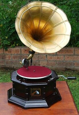 Collectable His Master Voice Hexagonal Gramophone With Brass Horn