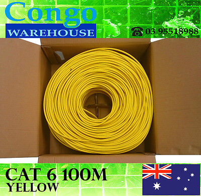 100m Premium Cat6 RJ45 Ethernet LAN Network Cable Cord Lead 10/100/1000  Yellow