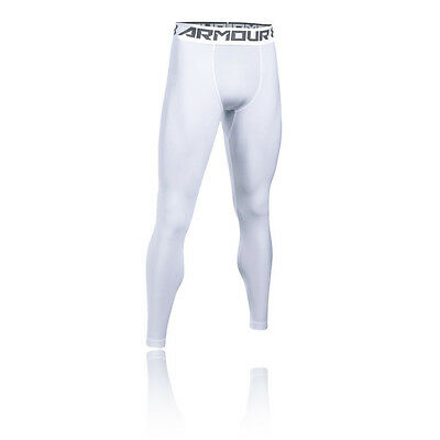Under Armour HeatGear 2.0 Hombre Blanco Compresión Largo Mallas Fondo Pantalones