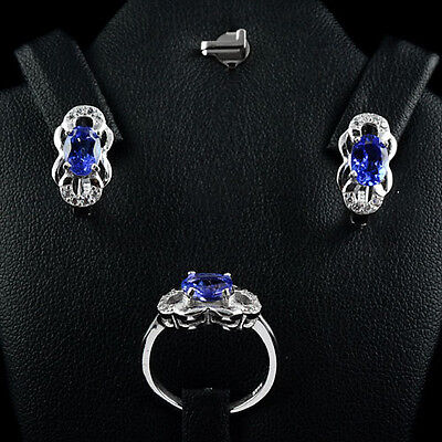 Gorgeous Natural Oval Top Violet Blue Tanzanite,white Cz Sterling 925 Silver Set