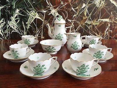 HEREND Hungary NANKING BOUQUET VERT NBV edles Dinner coffee services