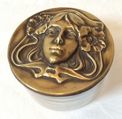 Clear glass trinket dish w Art Nouveau style brass lid w woman's face & poppies