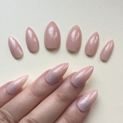 Hand Painted False Nails STILETTO Full Cover. Gloss Pink Nude Frosted Effect NEW