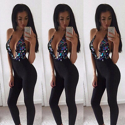 US Women Sleeveless Playsuit Bodysuit Casual Bandage Bodycon Jumpsuit Romper