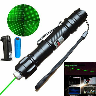 Super Range 532nm Green Laser Pointer Pen Clip Visible Beam + Battery & Charger