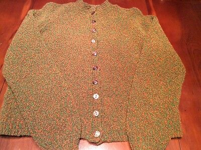Ladies Vintage Hand Knitted Green/brown Cardigan 14 Gc