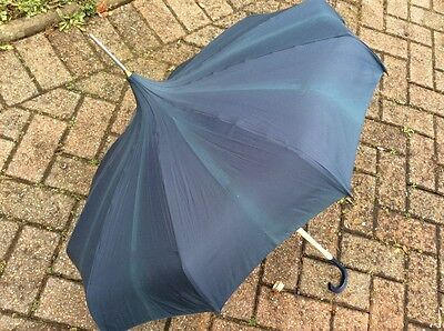 Vintage Ladies Umbrella/parasol Navy Blue - Fair Condition