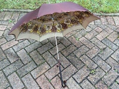 Vintage Ladies Brown Yellow Beige Floral Pattern Inside Umbrella/parasol Vgc