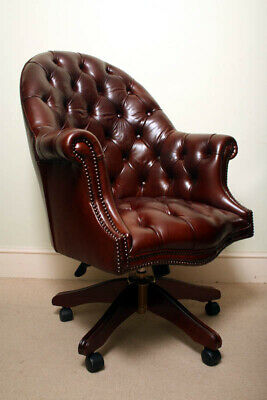 Bespoke English Hand Made Leather Directors Desk Chair Dark Brown