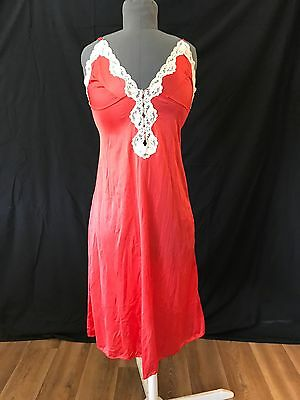 Vintage Watermelon Red Chemise 50s Pinup Retro Rockabilly Size 10-12