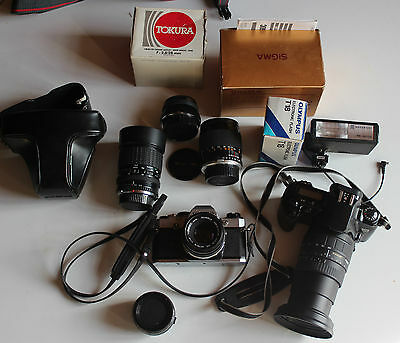 Lot Photo Argentique Canon Eos500, Olympus Om10 Objectifs